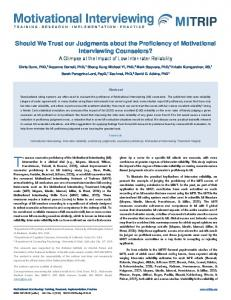 Should We Trust our Judgments about the Proficiency of Motivational ...