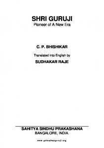 Shri Guruji: Pioneer of a new era