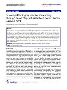 Si nanopatterning by reactive ion etching through an ... - BioMedSearch