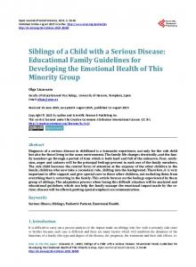 Siblings of a Child with a Serious Disease: Educational Family