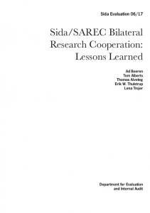 Sida/SAREC Bilateral Research Cooperation: Lessons Learned