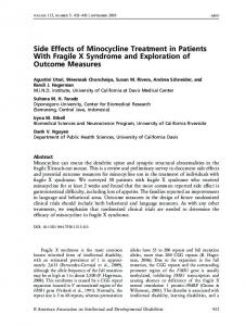 Side Effects of Minocycline Treatment in Patients With ... - ICTS | UCI