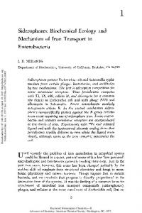 Siderophores: Biochemical Ecology and Mechanism