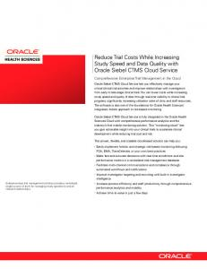 Siebel Clinical Trial Management System (PDF) - Oracle