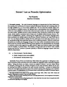Sievers' Law as Prosodic Optimization - Stanford University