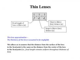 Sign Convention for Thin Lenses