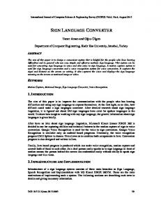 sign language converter - AIRCC Publishing Corporation