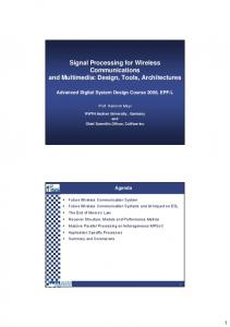 Signal Processing for Wireless Communications and Multimedia ...