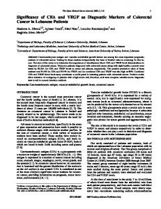 Significance of CEA and VEGF as Diagnostic Markers of Colorectal ...