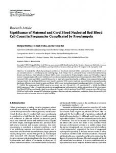 Significance of Maternal and Cord Blood Nucleated Red Blood Cell ...