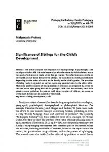 Significance of Siblings for the Child's Development