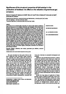 Significance of the structural properties of CaO catalyst - doiSerbia