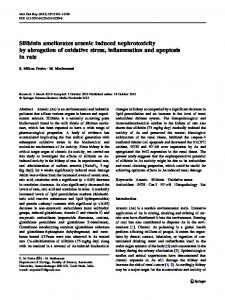 Silibinin ameliorates arsenic induced nephrotoxicity by ... - Springer Link