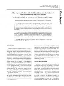Silica supported perchloric acid: an efficient catalyst for the synthesis ...