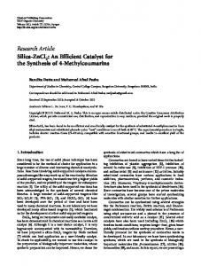 Silica-ZnCl 2: An Efficient Catalyst for the Synthesis of 4 ...