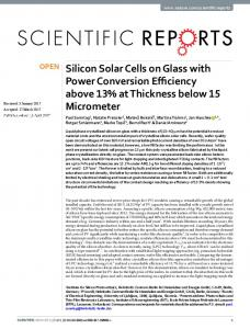 Silicon Solar Cells on Glass with Power ... - Infoscience - EPFL