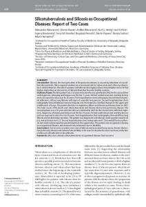 Silicotuberculosis and Silicosis as Occupational ... - Semantic Scholar