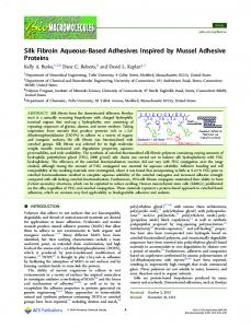 Silk Fibroin Aqueous-Based Adhesives Inspired by