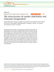 Silk micrococoons for protein stabilisation and ... - Semantic Scholar