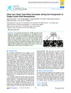 Silver Ions Direct Twin-Plane Formation during the ... - ACS Publications