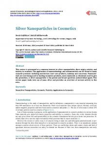 Silver Nanoparticles in Cosmetics - Scientific Research Publishing