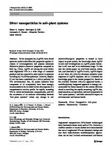 Silver nanoparticles in soil–plant systems
