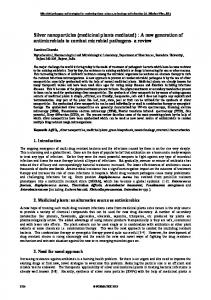 Silver nanoparticles (medicinal plants mediated) - Formatex Research ...