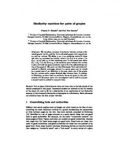 Similarity matrices for pairs of graphs - Semantic Scholar