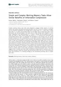 Simple and Complex Working Memory Tasks ... - Journal of Cognition