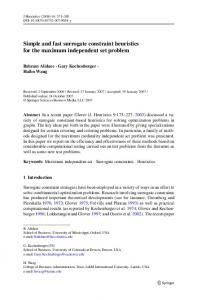 Simple and fast surrogate constraint heuristics for the ... - Springer Link