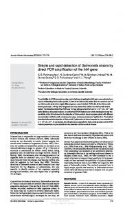 Simple and rapid detection of Salmonella strains by direct PCR ...