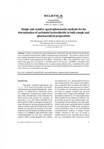 Simple and sensitive spectrophotometric methods