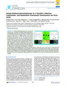 Simple Bisthiocarbonohydrazone as a Sensitive ... - ACS Publications