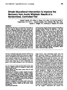 Simple Educational Intervention to Improve the Recovery from Acute ...