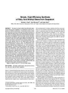Simple, High-Efficiency Synthesis of Fatty Acid Methyl Esters from