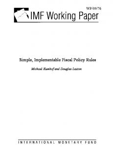 Simple, Implementable Fiscal Policy Rules - IMF