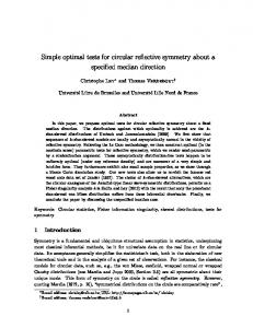 Simple optimal tests for circular reflective symmetry about a ... - ULB