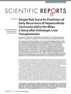 Simple Risk Score for Prediction of Early Recurrence of ... - Nature