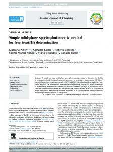Simple solid-phase spectrophotometric method for free iron(III ...