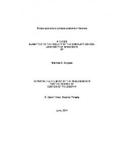 Simple solutions to complex problems in fisheries A THESIS ...