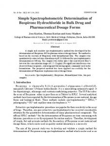 Simple Spectrophotometric Determination of Buspirone Hydrochloride ...