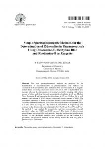 Simple Spectrophotometric Methods for the Determination of ... - Hindawi
