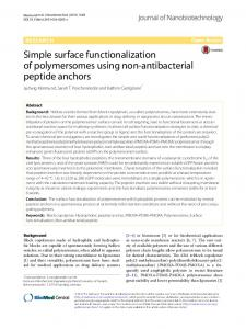 Simple surface functionalization of polymersomes using non ...