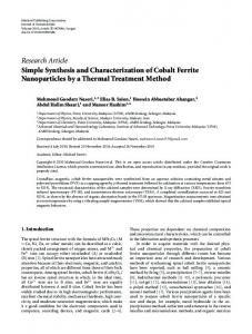 Simple Synthesis and Characterization of Cobalt Ferrite Nanoparticles