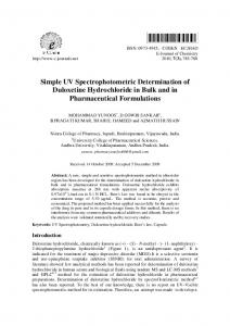 Simple UV Spectrophotometric Determination of Duloxetine ... - Hindawi