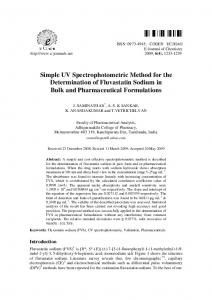 Simple UV Spectrophotometric Method for the ... - Hindawi