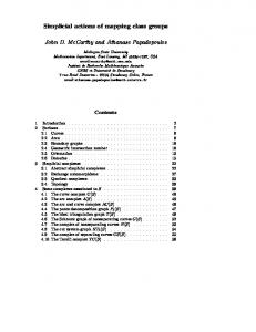 Simplicial actions of mapping class groups John D. McCarthy and ...