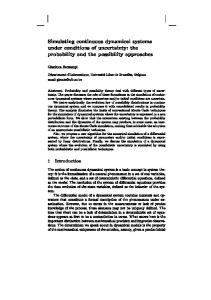 Simulating continuous dynamical systems under conditions of ... - ULB