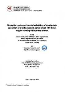 Simulation and Experimental Validation of Steady State Operation of ...
