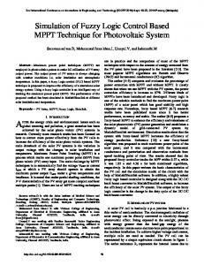 Simulation of Fuzzy Logic Control Based MPPT Technique for ...